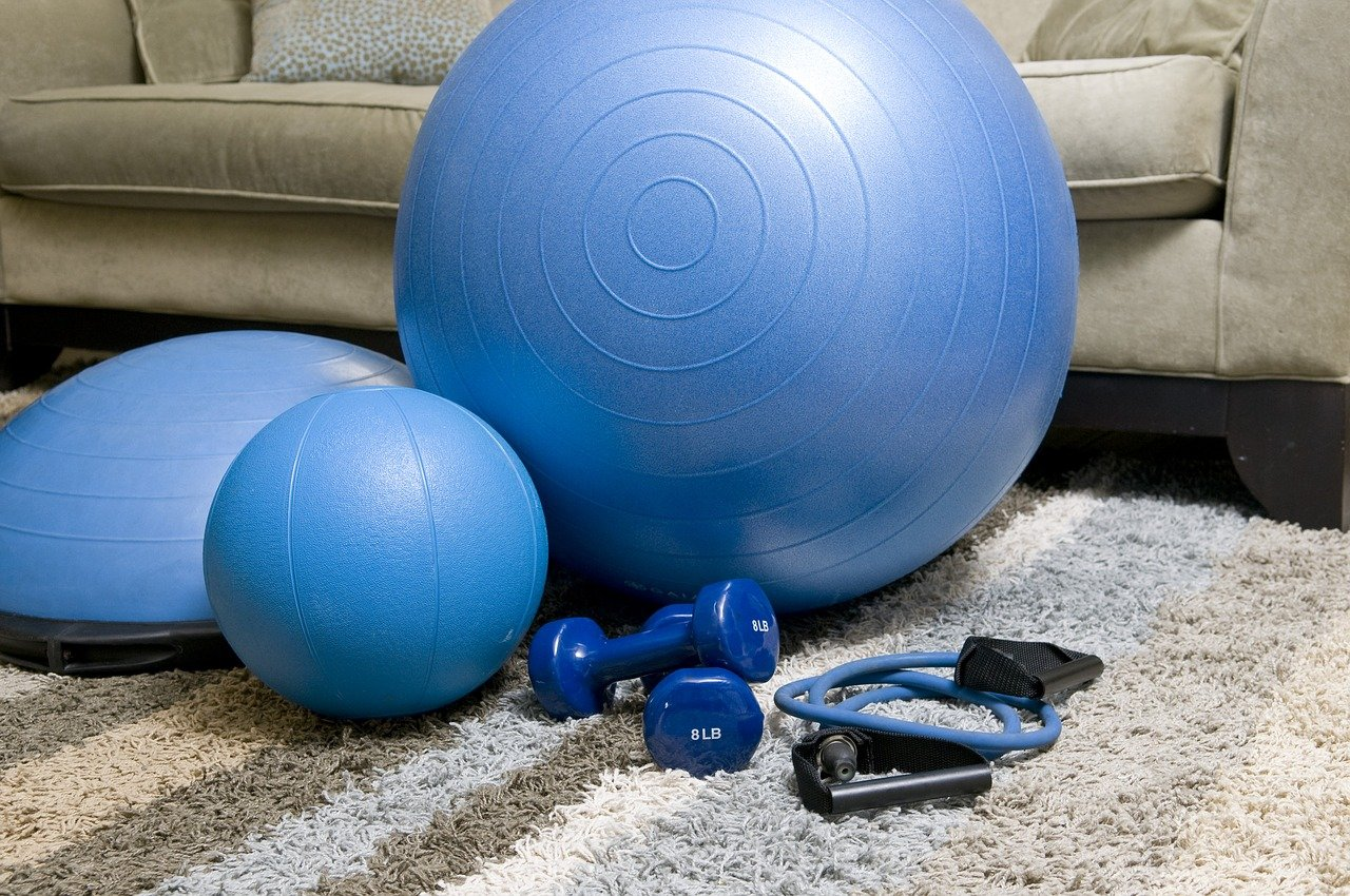 home fitness equipment, blue fitness equipment, portable fitness equipment